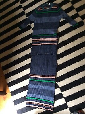 Country Road Blue Stripe Skirt And Top Size M And S