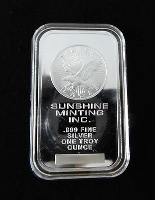 1 oz Sunshine Mint USA .999 Fine Silver Eagle Bullion Bar in Capsule