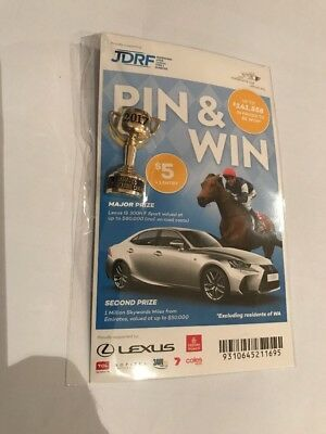 2017 Melbourne Cup Pin and Win Brand New On Card