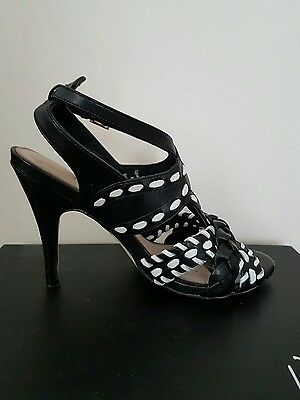 Wittner Ladies Shoes Size 36 Black and White Leather Heels