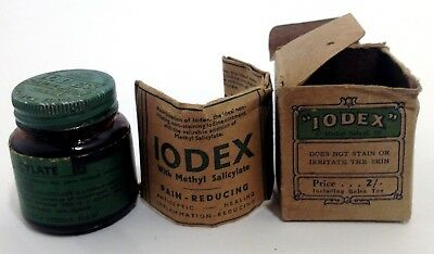 Antique Iodex bottle never opened in box with instructions