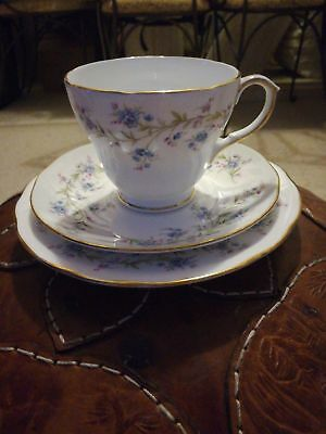 DUCHESS, 'Tranquillity' Bone China Tea Trio. Made in England.