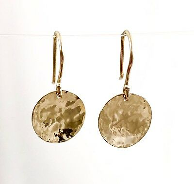 Solid 9ct 9k Yellow Gold 11mm Hammered Drop Disc Earrings