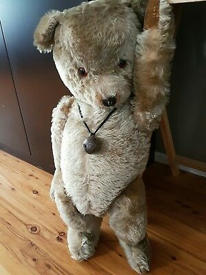 """Vintage Chiltern Bear 1950 Fully Jointed Mohair HUGE 27"""" tubby bear all Original"""