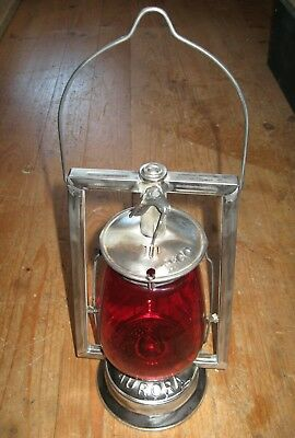 Hurricane Lamp .aurora Australia. Red Glass Hazard Lamp.
