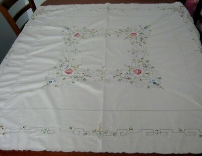 Vintage Embroidered Tablecloth ~ Scalloped Edge ~ Cotton ~ Square
