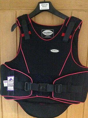 Champion Flexair Med Adult Body Protector current standard. Black/pink. Exc Cond