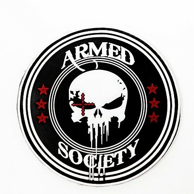 PVC Patch 3D Tactical Armed Society Punisher Rubber Skull Patch (3in)