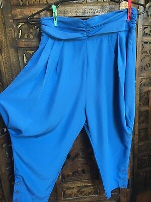 Mr K. 1990's 10/12 funky blue high waist 3/4 pants