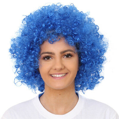 Blue Afro Wig Curly Fancy Dress Costume Accessory Unisex World Book Day Outfit