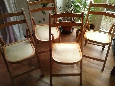 4 x Vintage1950's Folding Wooden Chairs for Restoration