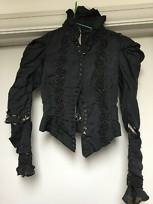 Antique victorian mourning jacket beaded beautiful hand made costume/ film