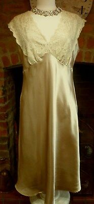 Vintage Style Beautiful Gold Slithery Liquid Satin Nightdress Lace Trim Size 14