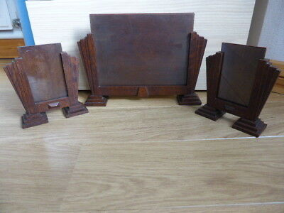 VINTAGE ART DECO SET of  3 PHOTO FRAMES,WOODEN