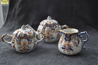 Antique 19/20th Century Faience Rouen signed teapot creamer and sugar bowl VGC
