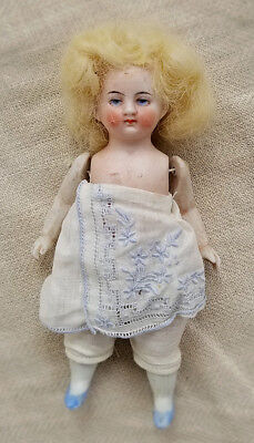 Vintage Bisque Girl Doll w/ Jointed Arms & Legs Blonde Mohair Wig Germany 6""