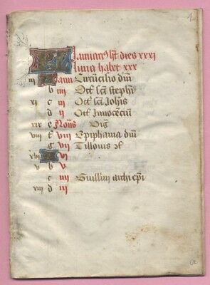 Medieval Manuscript Complete Calendar From  Book Of Hours, France, Use Of Limoge