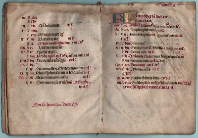 Medieval Manuscript Complete Calendar From  Breviary, Use Of Bordeaux,   C. 1450