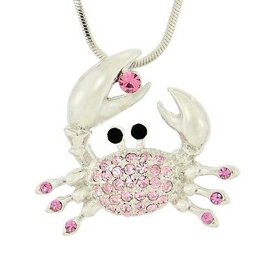 "W Swarovski Crystal Pink CRAB Ocean Beach Sea Pendant 18"" Chain Necklace"