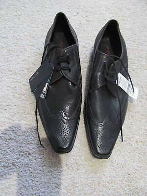 New with Tags M&S Autograph - STYLISH BLACK LEATHER SMART SHOES  size 8