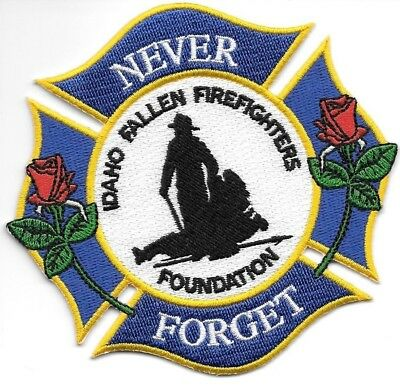 """Idaho  Fallen Firefighters Foundation """"Never Forget""""  (4"""" x 4"""" size) fire patch"""