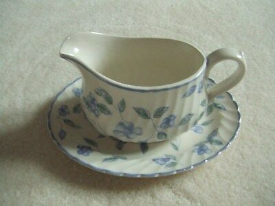 BHS Bristol Blue Gravy Boat and Stand in Very Good Condition