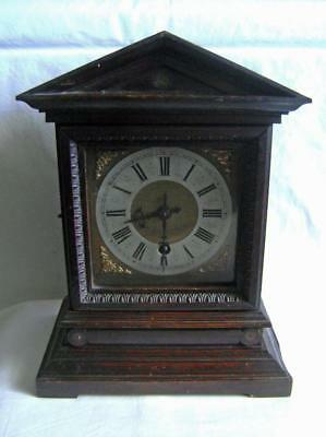 Antique 8 Day Carved Oak Mantle Clock Brass Dial C.1900 : Timepiece only