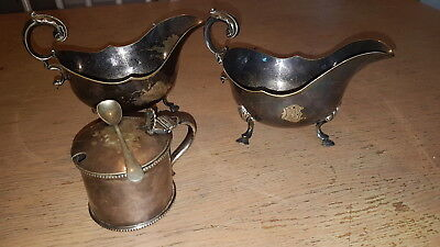 Heavy Antique Silver Plate Gravy Boats & Mappin Webb Large Mustard Pot