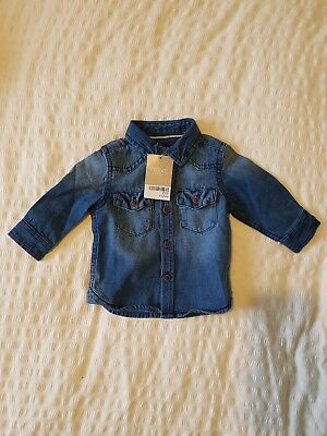 New with tags Next baby boy blue denim shirt top 3-6 months