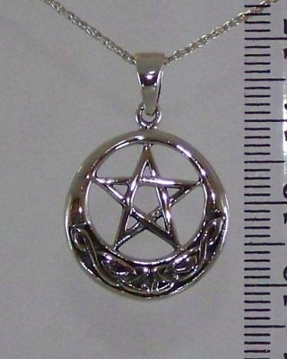 Sterling Silver PENTAGRAM CELTIC CIRCLE Necklace Pendant