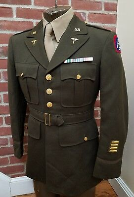 WWII US ARMY OFFICER UNIFORM 4 POCKET CLASS A JACKET - Sz 37R- ID'd & DATED 1942