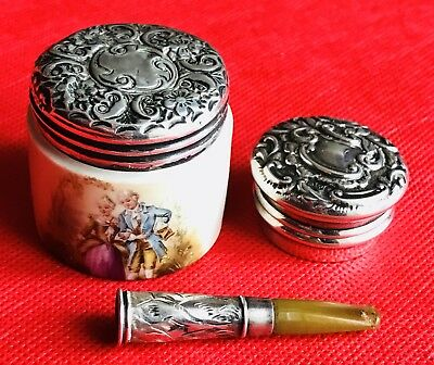 Antique Silver Lid Boxes One All Silver Other Porcelain Plus A Cigarette Holder