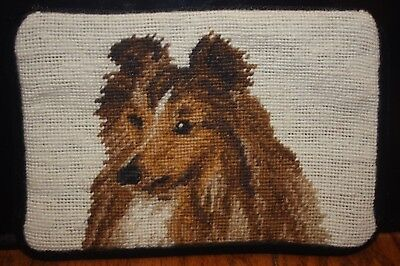 Handmade Needlepoint Sheltie Cosmetic/dog Treat  Case Reduced