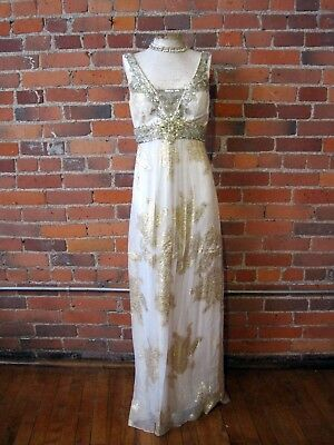 Sue Wong wedding prom dress ivory silk gold beaded sequins jewels boho Gatsby