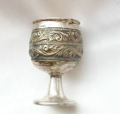 Antique Sterling Silver Repousse Miniature Goblet - Shot Cup - Cordial Cup -NR