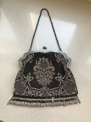 Vintage Antique Black and Silver Beaded Purse with Sterling Silver Frame