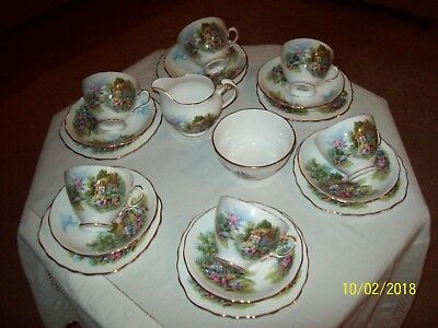 Royal Vale bone china tea set  Country Cottage 20 pieces
