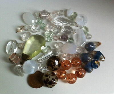 Vintage Acrylic Beads Mixed Colours Shapes Sizes Large Small Lot Clear Faceted