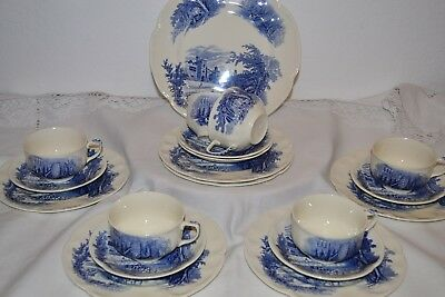 Vintage Johnson Brothers Blue and White Haddon Hall China Tea Set