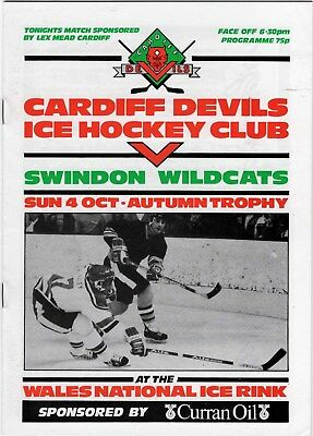 Oct 87 CARDIFF DEVILS v SWINDON WILDCATS (Autumn Trophy) (Devils second season)