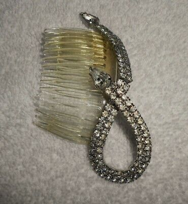 Vintage Rhinestone French Roll Comb Hair Accessory Beautiful