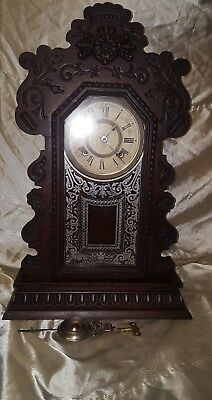 Superb Antique Eight Day Kenmore Ansonia Ginger Bread Clock In Working Order ⭐️