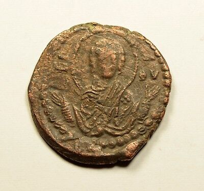 JESUS CHRIST Virgin MARY Class G Anonymous Ancient Byzantine Follis Coin