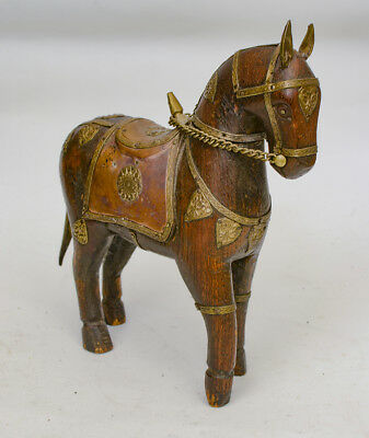 Antique Indian carved horse brass copper decoration.