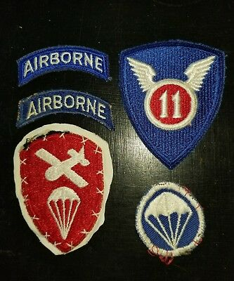 WWII US Army 82nd 11th & 101st Airborne Tab  Patch Lot