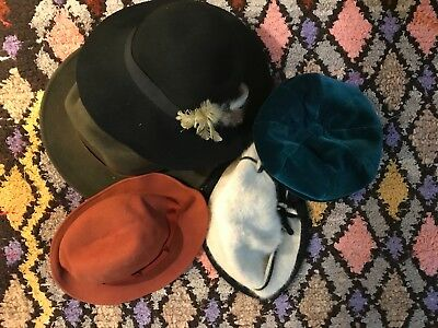 Collection of 5 vintage Hats 3 bowler cloche hats 1 Hoggs Fife hat 1 barret