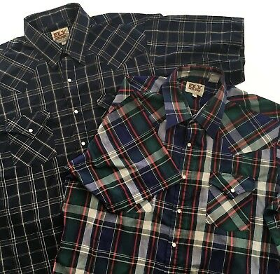 Lot of 2 Ely Cattleman Mens Large Vintage Shirts Pearl Snap Button Plaid Western