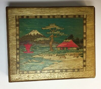Vintage Japanese Box Scottie Dogs Mount Fuli Puzzle Box Style Art Deco Case