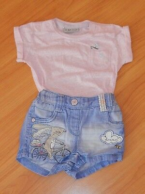 ** NEXT ** Playsuit Jumpsuit Anzug Overall Jeans Bunny On Bike **Gr.62/68 3-6 UK