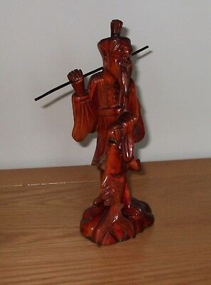 Vintage Chinese hand carved wooden fisherman - 26cm in height